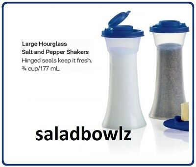 (TUPPERWARE New LARGE HOURGLASS SALT & PEPPER SHAKERS in TOKYO BLUE! fREEsHIP!)