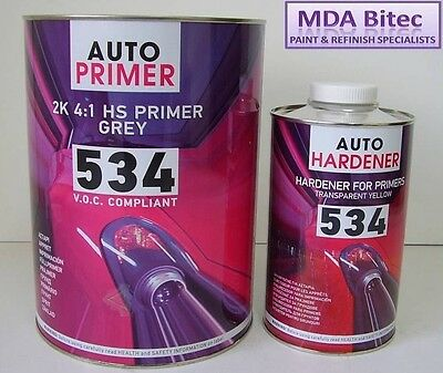 HB Body 534 High Build 2K Grey Primer 5 Litre Kit VOC Compliant 4L & 1L Hardener