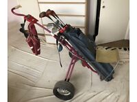 Golf set of cart, bags and clubs
