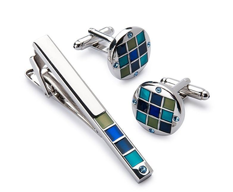 Men's Silver Polished Cufflink and Tie Clip Set in Gift
