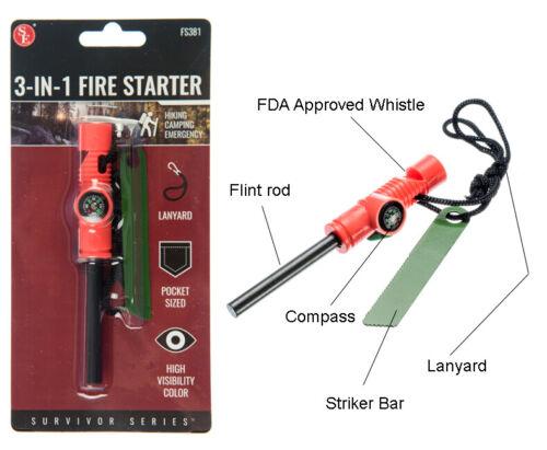 3-IN-1 Flint Fire Starter Emergency Fire Starter Compass & Whistle Survival