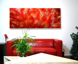 """Modern METAL art 60"""" Long red flower abstract painting office"""