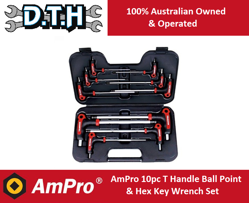10-Piece AMPRO T22902 Standard T Handle Ball Point and Hex Wrench Set
