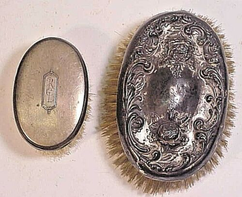 2 Sterling Backed Oval Brushes - Baby