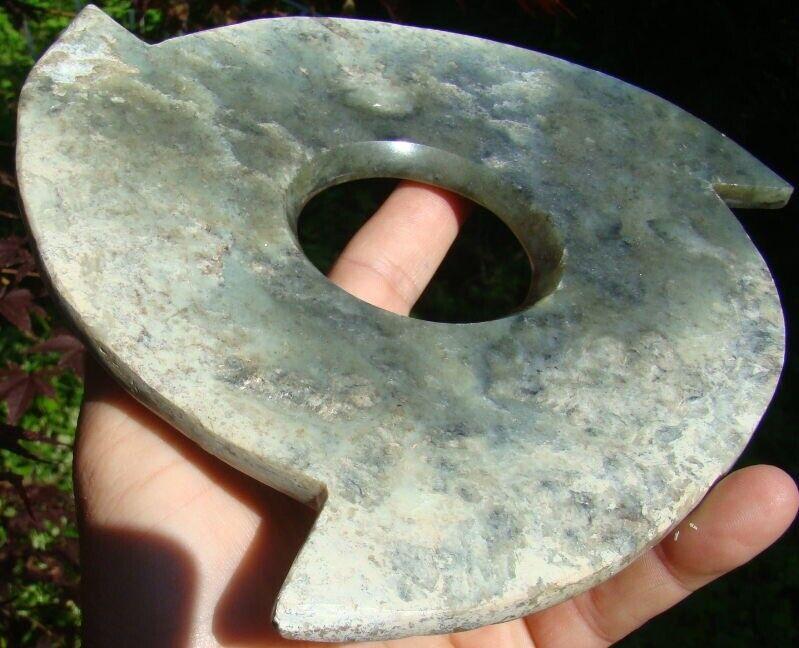 """Neolithic Chinese Dawenkou Culture Celadon  Jade Ritual Xuanji Bi Pi 8"""" Disc WOW"""