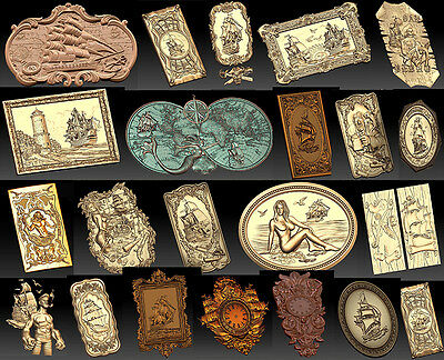 22 3d Stl Models For Cnc - Vectric Rlf Artcam See And Ships Theme