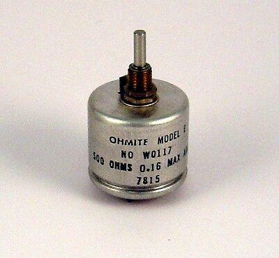 500 Ohm Rheostat - 12.5 Watt - Ohmite Model E Enclosed W0117 - 12 1/2 Watt