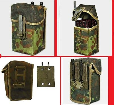 German Double Mag Pouch Fleck Camo Holds Two 20 Round 308 Mags + Belt - Double Mag Pouch Holds