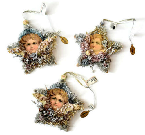 New Katherines Collection Victorian Angel Cherub Tinsel Star Xmas Ornaments Lot