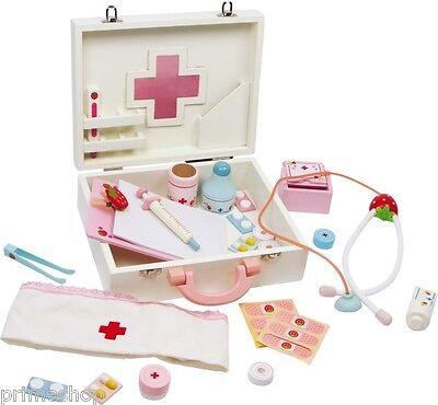 Arztkoffer Puppenklinik Holz viel Zubehör Rollenspiel ab 3  22 x 25 x 8,5 cm Neu