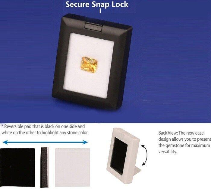 Black Gem Box Snap Lock Gemstone Storage Box Coins Box Showcase Display w/Easel