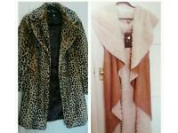 Ladies fur coat and faux suede gilet
