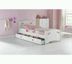 £99 - Mia hearts single bed frame with drawer - delivery available