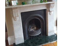 White victorian marble fire surround with cast iron insert for sale.
