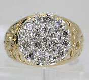 Mens 14k Yellow Gold Diamond Ring