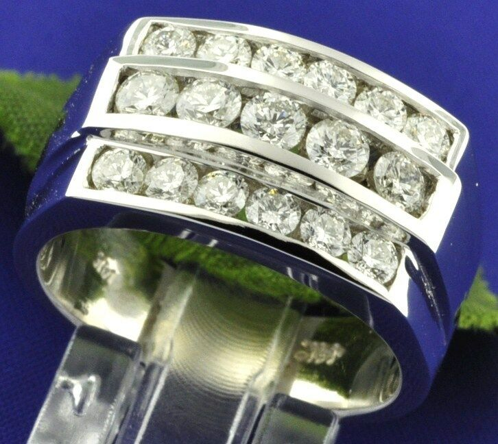 2.30ct 14k Solid White Gold Mens Natural Diamond Ring Channel Set 14.0gram 3 Row