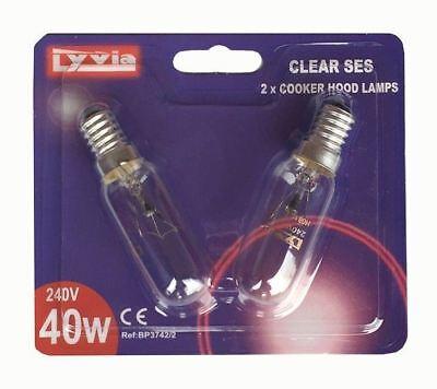 Cooker Hood Bulbs   40w -  85mm x 25mm  - 2 Per Pack