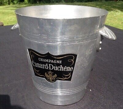 VINTAGE CANARD DUCHENE CHAMPAGNE ICE BUCKET FRANCE METAL COOLER WINE BAR ENGAGED