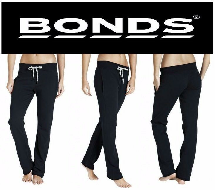 WOMENS BONDS BLACK SWEAT PANTS TRACKIES TRACK SPORTS GYM RUNNING YOGA SIZE S M L