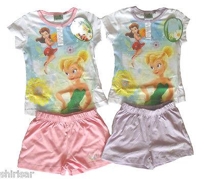 Tinkerbell Mädchen Pyjamas (Disney Fairy Tinkerbell kurzarm Pyjama Schlafanzug für Mädchen NEU kurze Hose)