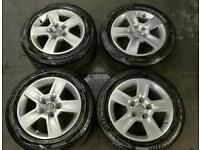 "4 x Alloy Wheels 16"" Audi VW Skoda Seat + winter tyres 205 55 R16"