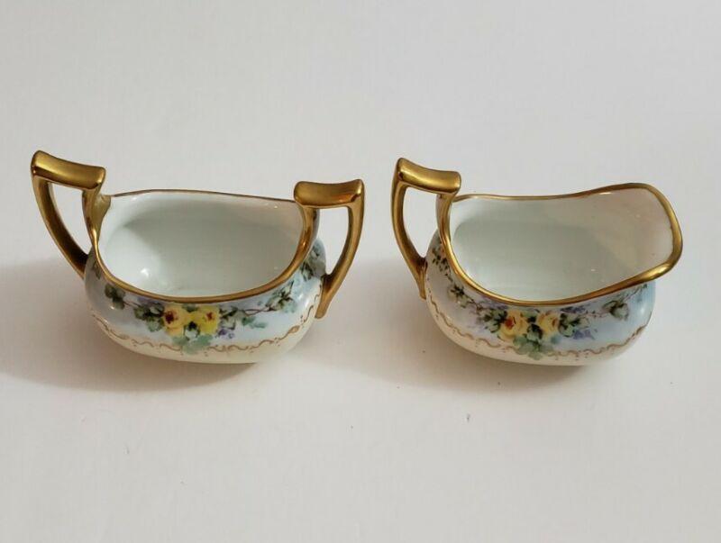 Classic Bavaria Cream And Sugar Hand Painted Gold Trim Porcelain