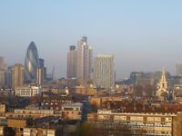 Spitalfields: furnished double bedroom 10 minute walk from The City, flat with outstanding views