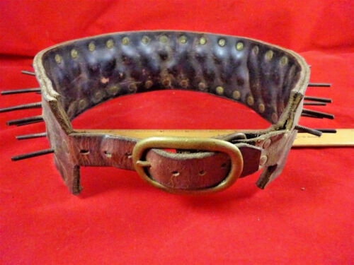 Large Breed Spiked Leather Dog Collar 1900 Vintage SALE PRICE