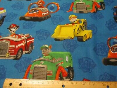 Characters In Paw Patrol (Blue  Paw Patrol Characters In Cars Cotton Fabric)