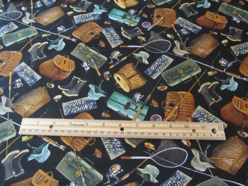 Black Gone Fishing Tackle and Equipment Cotton Fabric BTY
