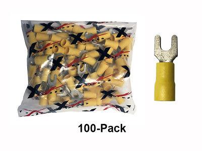 100 Pack 12-10 Gauge 8 Tin Coated Copper Core Vinyl Spade Fork Crimp Terminals
