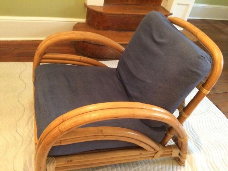 1950s Ritts Los Angeles Rattan Chair w/ cushions