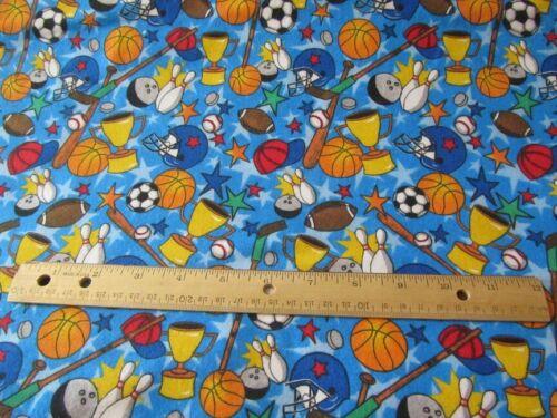 2 Yards Blue Sports Equipment Toss Flannel Fabric