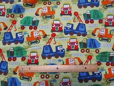 Green Builders Movers Truck Dozer Construction Cotton Fabric By The Yard