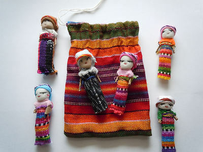 """6x Large Guatemalan Worry Dolls in POUCH - Hand Made Mayan Trouble Doll 2"""" Bag"""