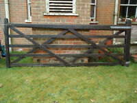 Well made pine five bar gate - about 10 foot wide