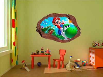 Mario Bros Characters (Super Smash Bros Mario Characters 3D Window Rock Decal Wall Sticker Art Mural)
