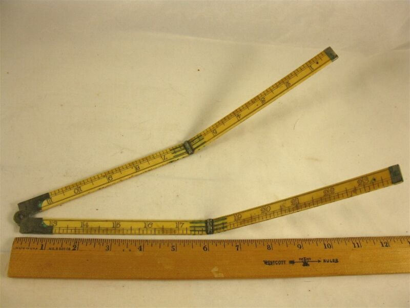 "Antique 24"" Folding Rule S. Aston Maker"