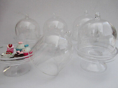 """3 Sets Small Size 3"""" Cookie Plate Display Plate & Bell Jar/Miniature/Party M9"""
