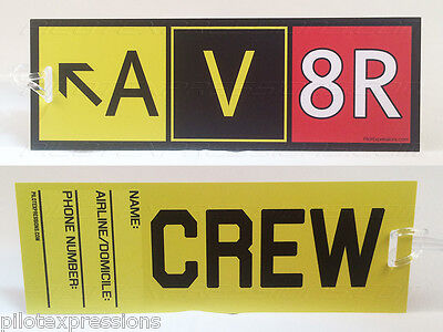 "Crew Luggage Tag - AV8R ""Aviator"" Taxiway Sign Airline Crew Tag! NEW DESIGN!"