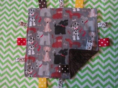 Gray Dog/Puppy Toss Flannel/Minky Tag Ribbon Security Blanket