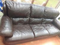 Leather sofa, leather armchair, children's bed frame - FREE