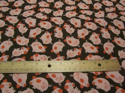 Brown With Pink Pigs Sleeping Toss Cotton Fabric BTY Cotton Pink Pigs