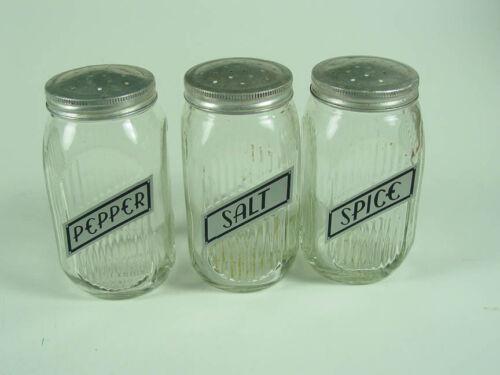 """Hoosier - Sellers ~ 3 - """"Crystal Ribbed Range Shakers"""" ~ New Labels - Good Lids!"""