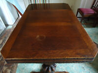 extending dining table vintage oak draw leaf 1930s - great shabby chic project or for Christmas