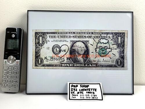 Keith Haring Signed Dollar Bill + Self Portrait + POP SHOP Biz Card