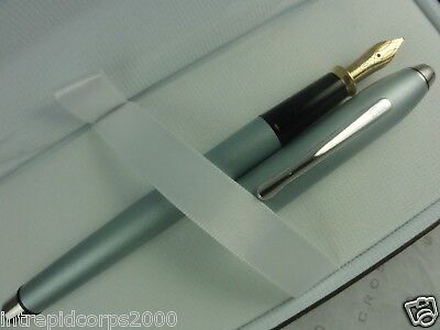 Cross Made in the USA Townsend Rhodium & sky blue SOLID 14K XF nib FOUNTAIN pen