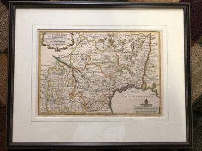 1705 Map of the French Wine & Cheese Region of Languedoc, France - ORIGINAL France Wine Region Map