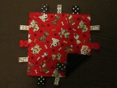 Red With Multicolored Dog/Puppy Cotton/Minky Baby Tag Ribbon Security Blanket