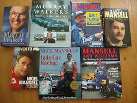 Car and Motoring books - Mansell, Walker, Scimitar, Grand Prix etc